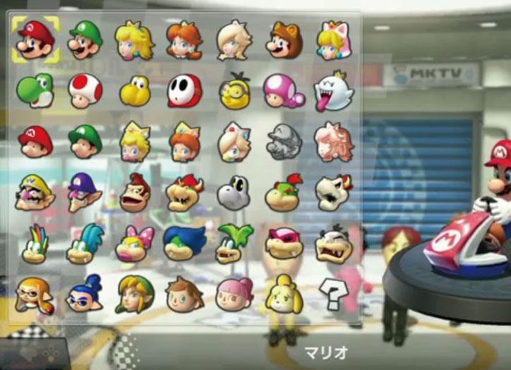 今作では、マリオカート8に収録されていた40を超えるキャラクターたちに加え、更に後から配信された追加DLCのキャラクターたちも最初から加わることに。
