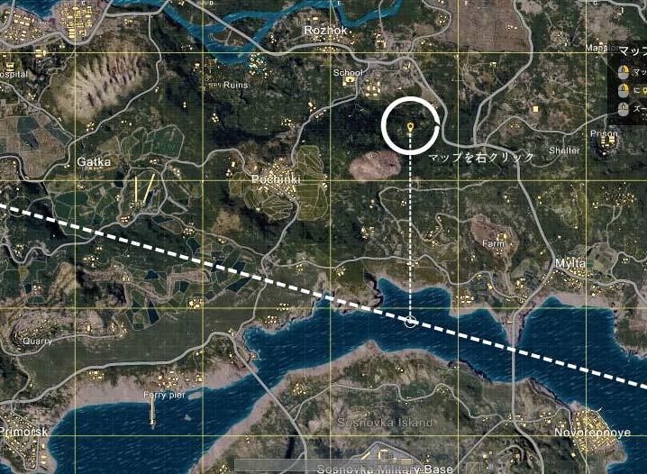 【PUBG】パラシュートで降りる位置を確認