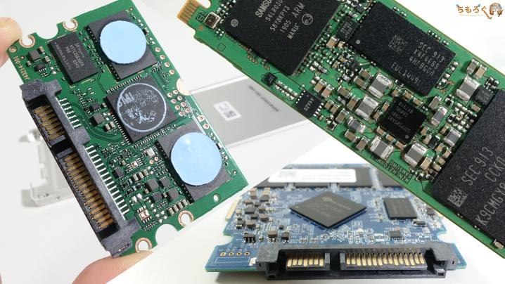 SSDの基板をまとめた写真