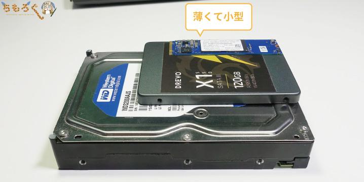 SSDとHDDの違い:省スペース性