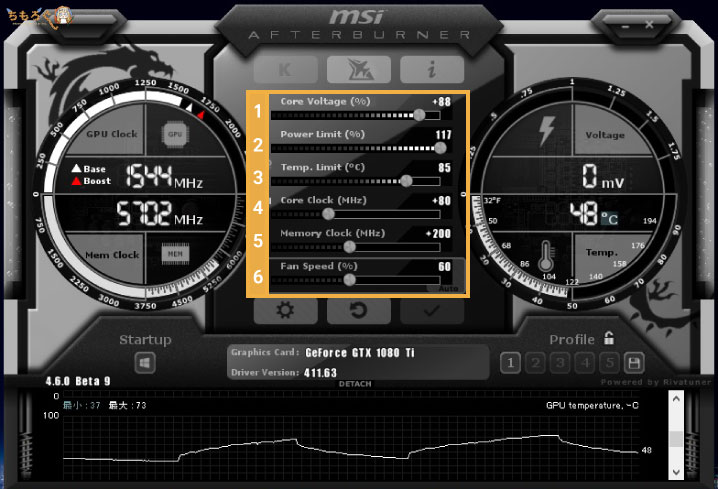 MSI Afterburnerの設定画面