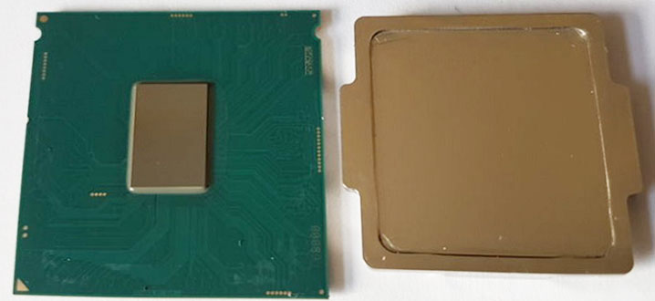 インテルのCPUを殻割りした様子