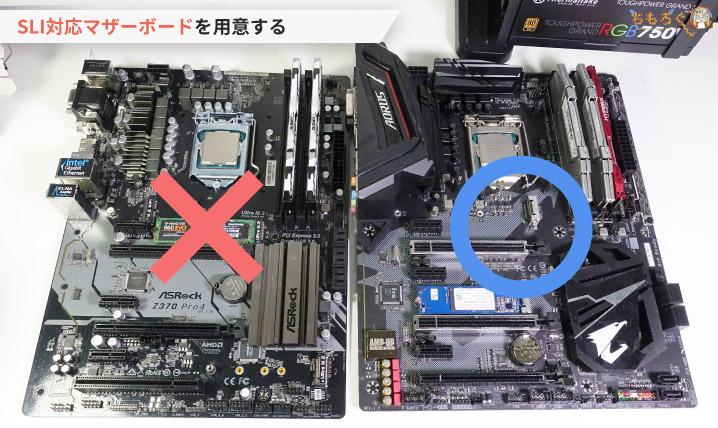 NVIDIA SLIに対応したマザーボードを用意する