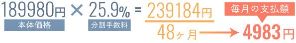 分割手数料で実際の支払額は増加する(計算例)