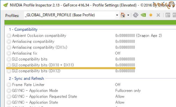 SLI Compatibility Bitsを設定する