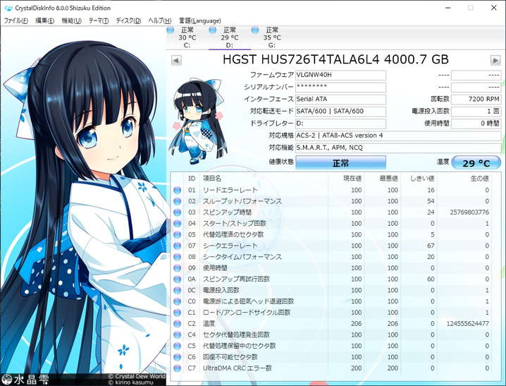 DC HC310(4TB)とCrystail Disk Info