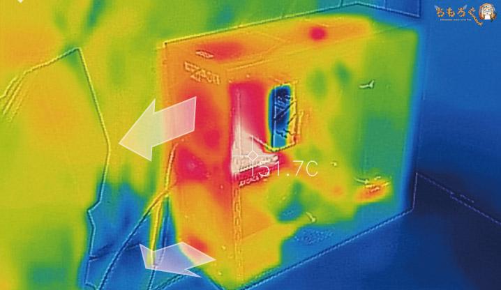ガレリアZTの発熱をサーモグラフィーで撮影
