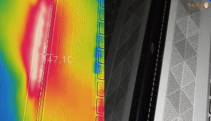 HP Pavilion 15 cs-0000のサーモグラフィー