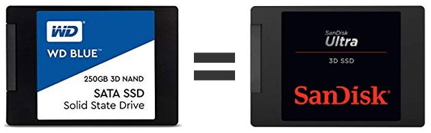 SanDisk Ultra 3DとWD Blue 3D SSDは同じ製品