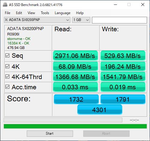 Adata XPG SX8200 Proのベンチマーク(AS SSD Benchmark)