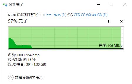 CFD SSD CG3VXのベンチマーク(コピー速度)