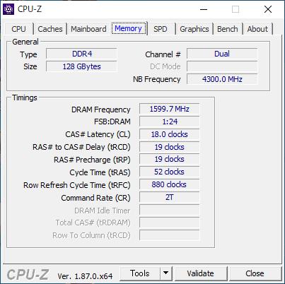 レイテンシの設定値(Z390にてDDR4-3200)