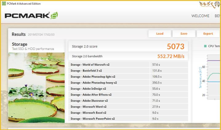 Plextor M9PeGをベンチマーク(PCMark 8 Storage Test)
