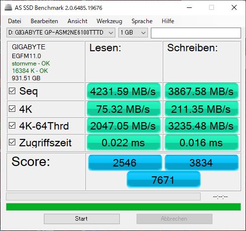 Aorus NVMe Gen4 SSDをベンチマーク(AS SSD Benchmark)