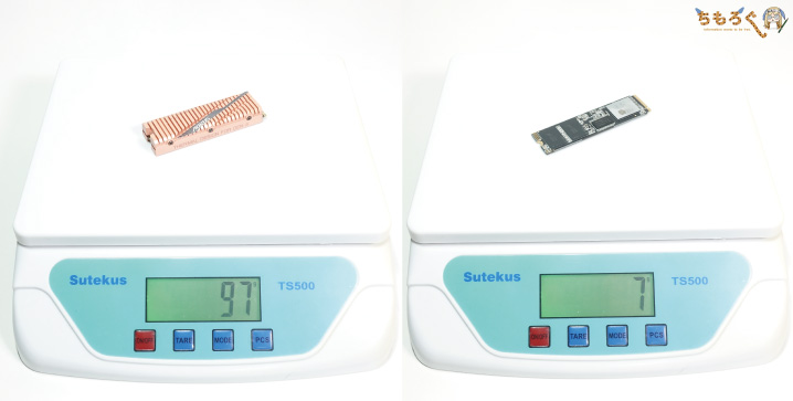 GIGABYTE Aorus NVMe Gen4 SSDのヒートシンク重量