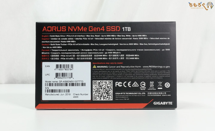 GIGABYTE Aorus NVMe Gen4 SSDのパッケージング
