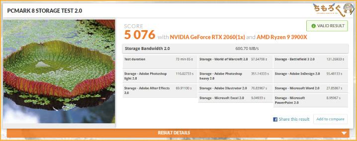 Aorus NVMe Gen4 SSDをベンチマーク(PCMark 8 Storage Test)