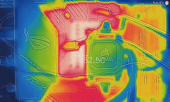 ROG STRIX X570-E GAMINGのVRMフェーズ回路の表面温度(Auto設定)