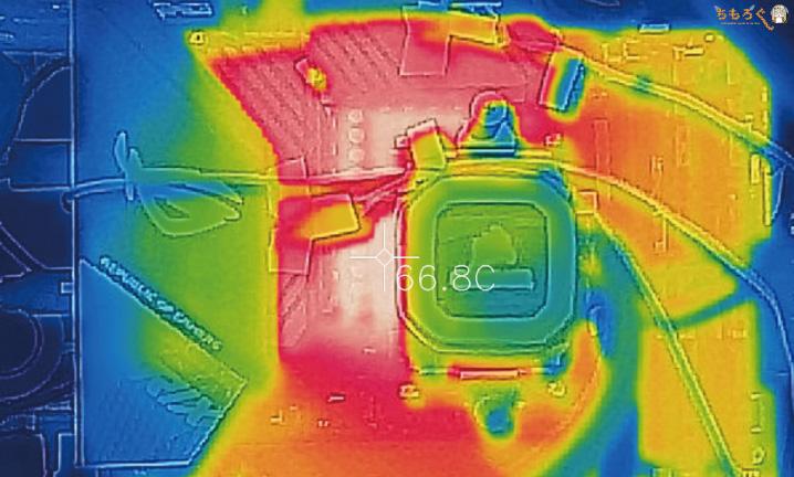 ROG STRIX X570-E GAMINGのVRMフェーズ回路の表面温度(OC時)