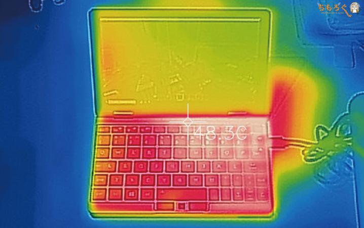 OneMix 3Sの表面温度(サーモグラフィー)