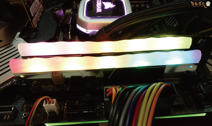 V-color DDR4 PRISM II RGBのLEDライティング(写真)