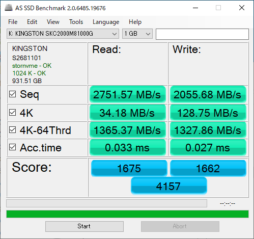 Kingston KC2000をレビュー(AS SSD Benchmark)
