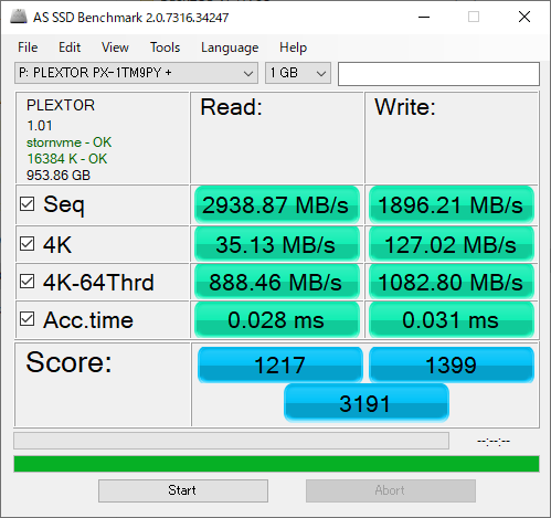 Plextor M9P Plusのベンチマーク(AS SSD Benchmark)