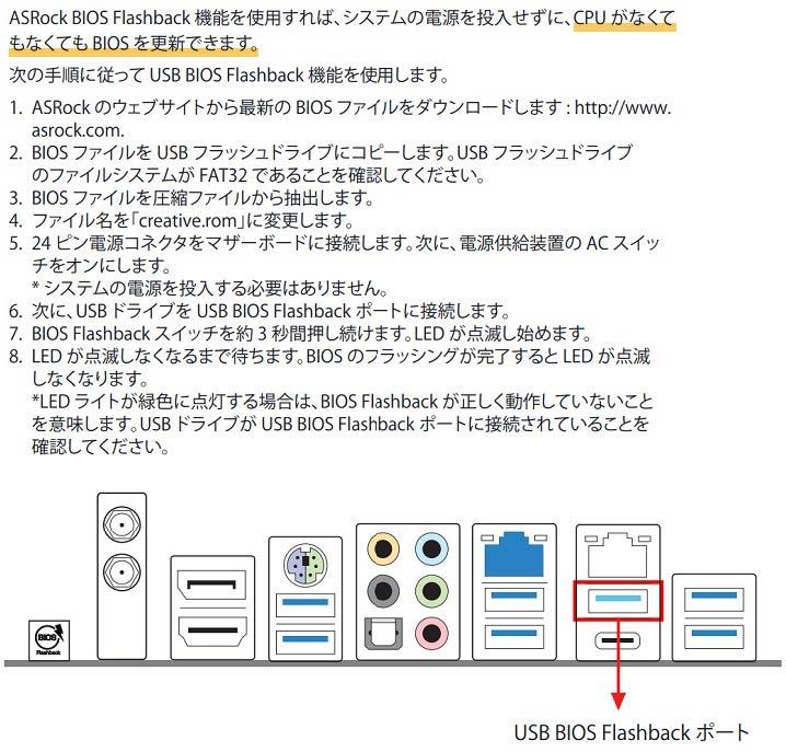 ASRock BIOSフラッシュバックのやり方