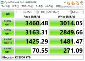 Kingston KC2500 1TBをレビュー(Crystal Disk Mark)