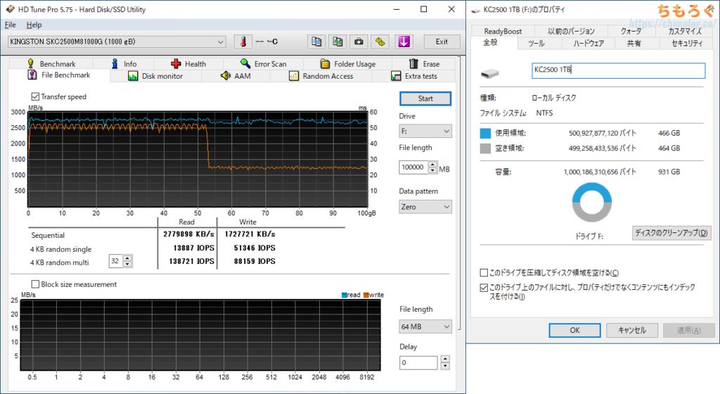 Kingston KC2500 1TBをレビュー(空き容量50%でHD Tune Pro)