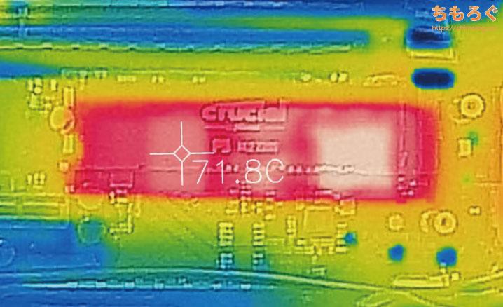Crucial P5をレビュー(サーモグラフィカメラで表面温度)