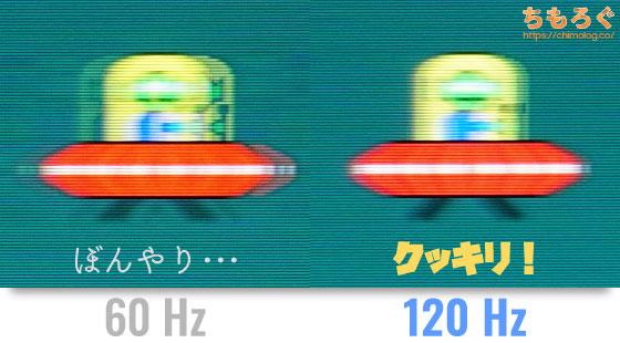 リフレッシュレート60Hzと120Hzの違いを写真でチェック