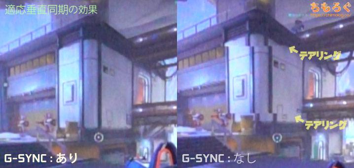 適応垂直同期:G-SYNCのテアリング抑制効果(写真)