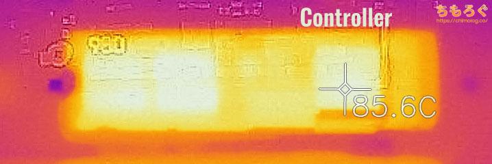Samsung 980 PROの表面温度(サーモグラフィー)