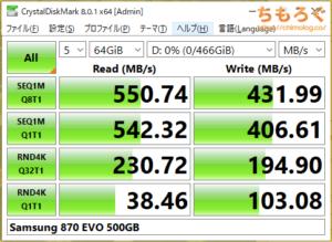 Samsung 870 EVO(Crystal Disk Mark 8で応答時間を比較)