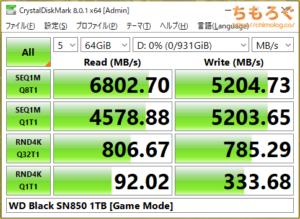 WD Black SN850をベンチマーク(Crystal Disk Mark 8)