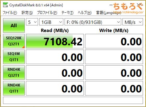 Samsung 980 PROをベンチマーク(Crystal Disk Mark 8)