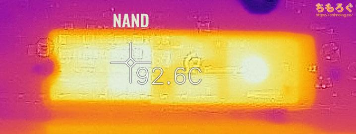 WD Black SN850の表面温度(サーモグラフィー)