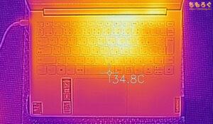 Yoga Slim 750i Carbon(サーモグラフィカメラで表面温度)