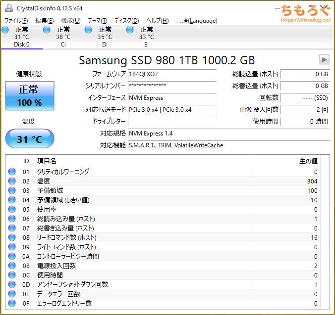 Samsung 980 SSDをベンチマーク(Crystal Disk Info)