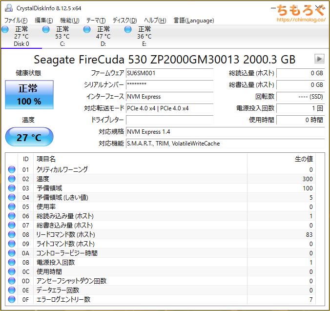 Seagate FireCuda 530をベンチマーク(Crystal Disk Info)