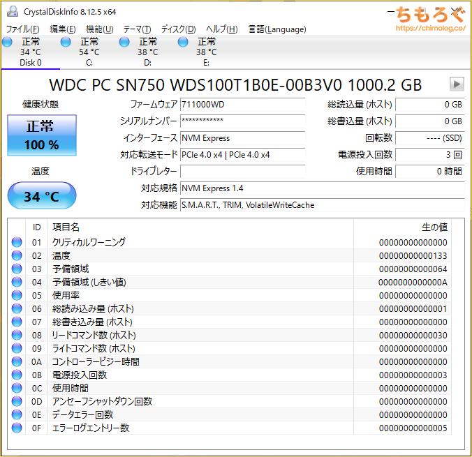 WD Black SN750 SEをベンチマーク(Crystal Disk Info)