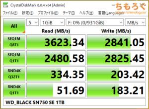 WD Black SN750 SEをベンチマーク(Crystal Disk Mark 8)