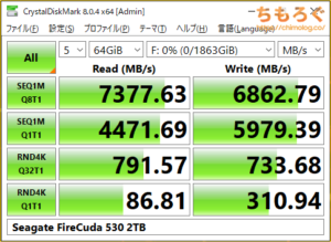 Seagate FireCuda 530をベンチマーク(Crystal Disk Mark 8)
