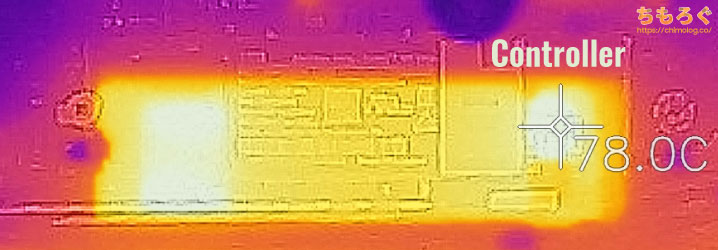 SanDisk Ultra M.2 NVMe 3D SSDの表面温度(サーモグラフィー)