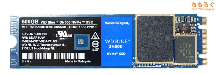 WD Blue SN500のコンポーネント配置