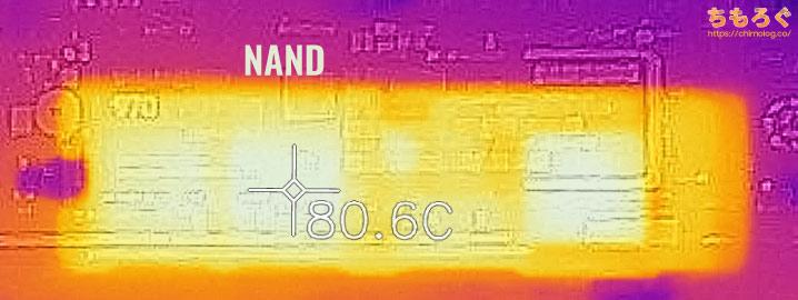 Samsung 970 EVO Plusの表面温度(サーモグラフィー)