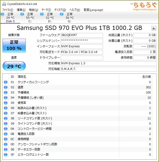 Samsung 970 EVO Plusをベンチマーク(Crystal Disk Info)
